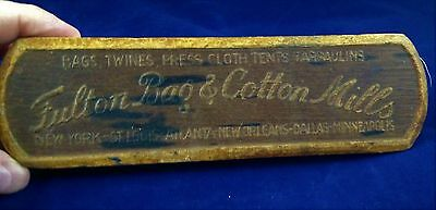 """Fulton Bag & Cotton Mills Clothes Brush - 7.75"""" long - vintage with patina"""
