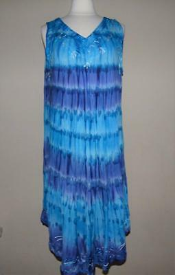 5aa2e0a89e614 LEBAZ® One Size Turquoise   Blue Tie-Dye Embroidered Boho Dress or Cover-