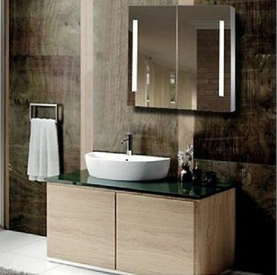 Bathroom LED Mirror Shaving Cabinet with Touch Senser 900X750, Pencil Edge