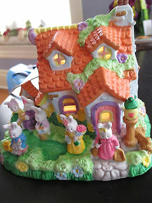 Lighted Easter Village Cottage House W/bunny Rabbit Family Ceramic
