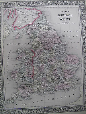 Vintage Original Color Map 1860 England Wales Cornwall Cardiff  Mitchell's Atlas