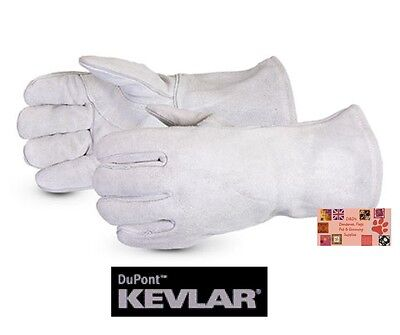 """ANIMAL HANDLING GLOVES Mid-Arm 13""""LEATHER with KEVLAR Dog Cat Bird Reptile Snake"""
