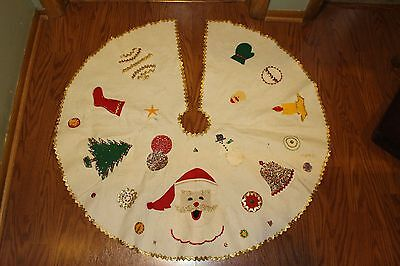 Vintage Hand Made Christmas Tree Skirt - Felt w/beading, sequins - used -X2