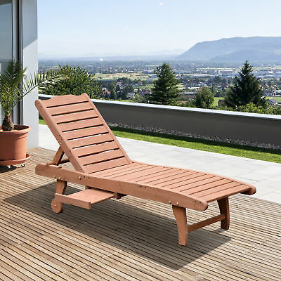 Outsunny Wooden Chaise Lounge Outdoor Patio Furniture Adjustable w/Pullout Table