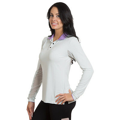 KASTEL Polo Shirt - Long Sleeve - Grey/Purple- Different Sizes