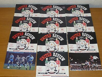 10  Manchester  United Programmes  1990/91  Are  In A Very Good Condition