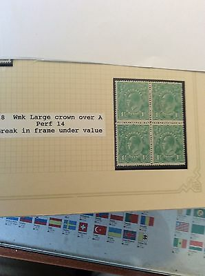 stamps australia 1918  11/2d green in block of 4 one with break  under value