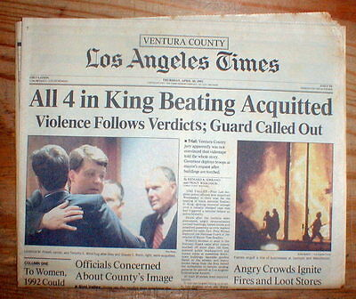 Best 1992 LOS ANGELES newspaper 4 police officers acquitted RODNEY KING BEATING