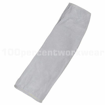 Supertouch Grey Split Leather Elasticated Ends Welding Welders Sleeve Protection