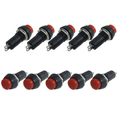 Hot Sale 10Pcs Red AC 250V 3A SPST On/Off Self Locking Push Button Switch New
