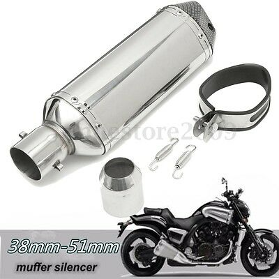 38-51mm Carbon Fiber Universal Motorcycle Slip-On Exhaust Muffler Silencer Pipe