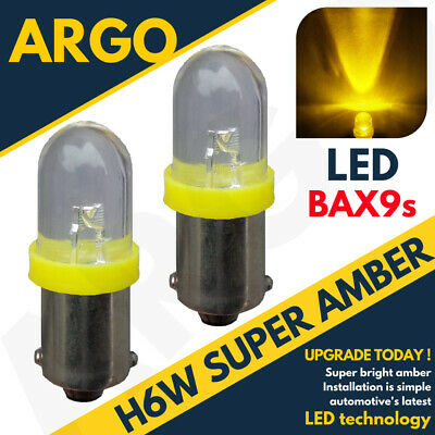 2X Bax9S H6W 433 434 Led Bulb Indicator Reverse Parking Side Light Amber Lamps