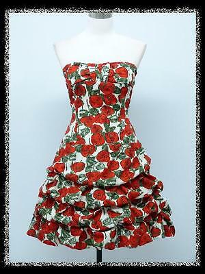 dress190 Red Rose Strapless Floral/Sparkle Rockabilly Party Prom Cocktail Dress