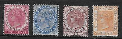Straits Settlements  Sel.of Mint  1883/91 Wmk Crown Ca Set   Fine Appearance