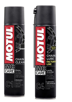 Kit Pulizia Catena Moto Motul C1 + Grasso Lubrificante C4 Spray 2X400ML