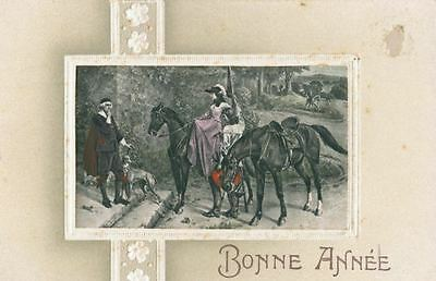 Old Embossed Postcard PC Italian Greyhound Dog Horses Happy New Year from Paris