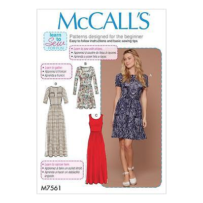 McCALL'S SEWING PATTERN MISSES' CLOSE-FITTING PULLOVER DRESS XSM - XXL M7561