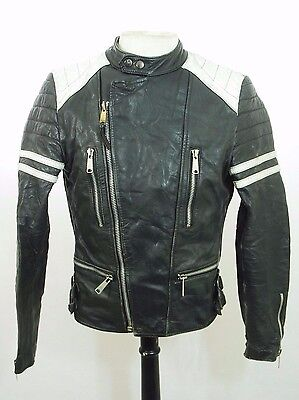 Vintage Distressed Scuffed Black Leather Cafe Racer Biker Motorcycle Jacket 38""