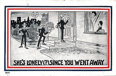 Vintage Comic Postcard  She's Lonely Since You Went Away Unused