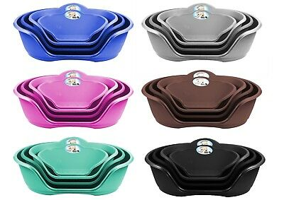 Pet Dog Puppy Cat Bed Basket Heavy Duty Plastic Waterproof Cushions 4 sizes