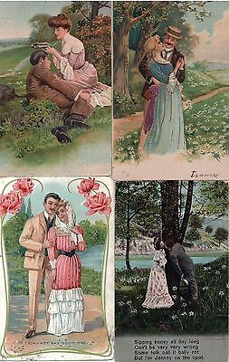 4 x Vintage Postcards Courting Couples Lot 2, c. 1900's