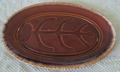 """Hull Pottery Mirror Brown Well 'n Tree 14"""" X 10"""" Oval Platter"""