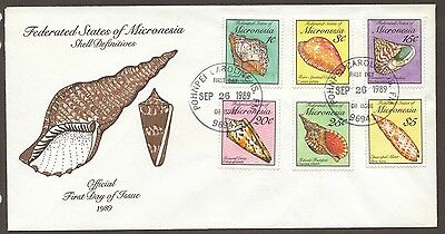 1989 MICRONESIA Federated States SHELL Definitives Set of 2 Official  FDC's