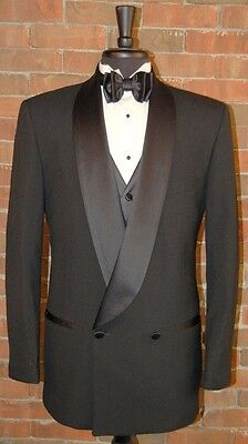 Mens Size 40 L  Slim Fit Black Double Breast Shawl Dinner Jacket Breasted Tuxedo