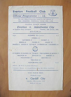 EVERTON v MANCHESTER CITY Reserves 1951/1952 *Good Condition Football Programme*