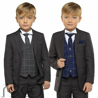Boys Grey Suit, Boys Check Waistcoat, Page Boy Suits, Boys Wedding Suit