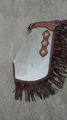 S hair-on chinks/chaps w/texas star conchos, fringe, basket stamp yoke