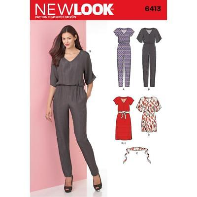 NEW LOOK PATTERN Misses' Jumpsuit and Dress in Two Lengths SIZE 8 - 20 6413