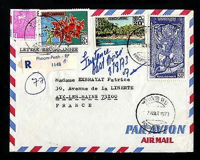16090-CAMBODIA-AIRMAIL REGISTERED COVER PHNOM-PENH to AIX (france)1973.Cambodge