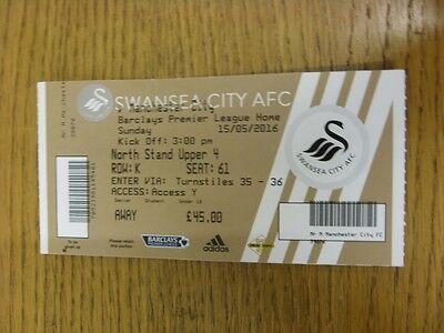 15/05/2016 Ticket: Swansea City v Manchester City  . Thanks for viewing this ite