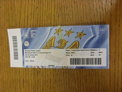 16/01/2016 Ticket: Manchester City v Crystal Palace  . Thanks for viewing this i