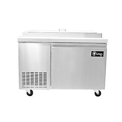 Saba Air SPP-49-6 Commercial Refrigerated Pizza Prep Table with pans Stainless