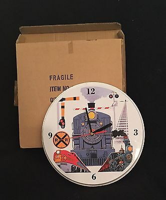 Three Different Trains And Crossings Scene Train Clock with Sound Effects MIB
