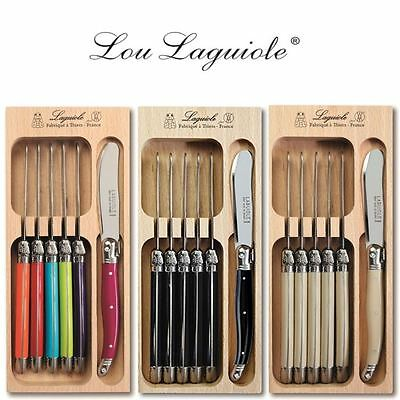 Laguiole Set of 6 Stainless Steel Butter Spreaders Ivory or Multi Handles in Box