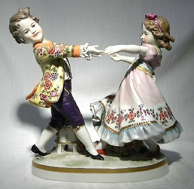 Antique Ludwigsburg  Figure Group Children Playing