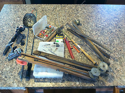 Nice Lot Old Vintage Ice Fishing Lures Poles Tip Ups Tackle Gear