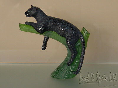 Daum France Art Glass Pate de Verre Black Panther on Tree Sculpture/Figurine