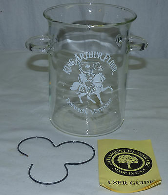 """King Arthur Flour Catamount Glass 6 1/4"""" Handled Canister Cooker w Heat Diffuser"""