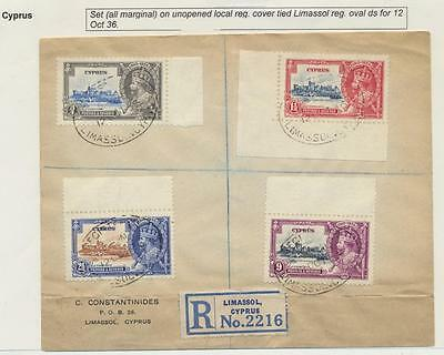 Cyprus 1935 Silver Jubilee Set On Reg.cover All With Margins (See Below)