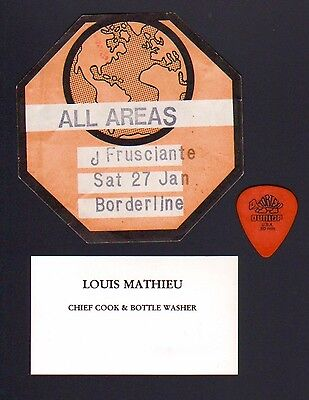 JOHN FRUSCIANTE Used Guitar Pick and Unused Backstage Pass RHCP Road Mgr Coa