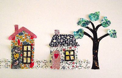 Liberty of London fabric appliques cottages  peel off backing and iron in place