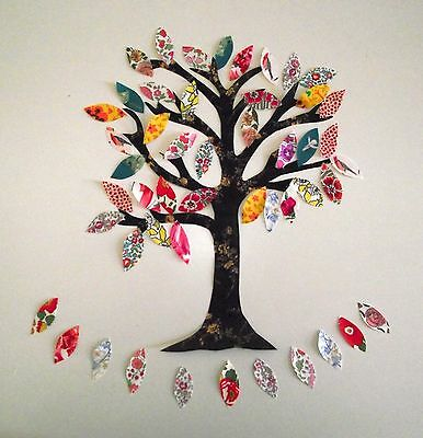 Liberty of London fabric appliques TREE OF LIFE  peel  backing and iron in place