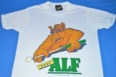 vintage 80s FAST ALF POOL ALIEN LIFE FORM TV SHOW WHITE t-shirt YOUTH  10/12 M