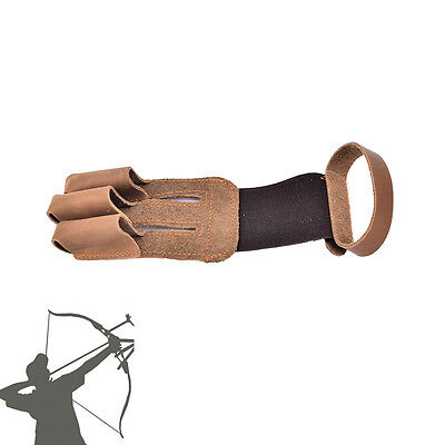 Archery finger protect glove 3 finger pull bow arrow leather shooting gloves WB