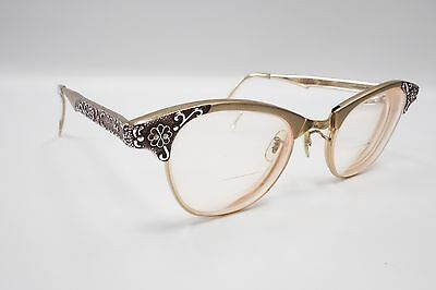 VINTAGE CAT EYE GLASSES Gold FRAMES 46[]22 ART CRAFT USA Aluminum 2972