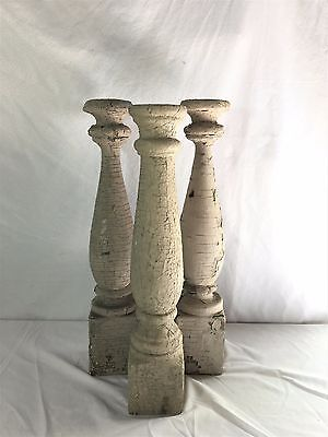 Three(3) RECLAIMED Wood Candlesticks SHABBY Candle Holders Antique Malt 363-17